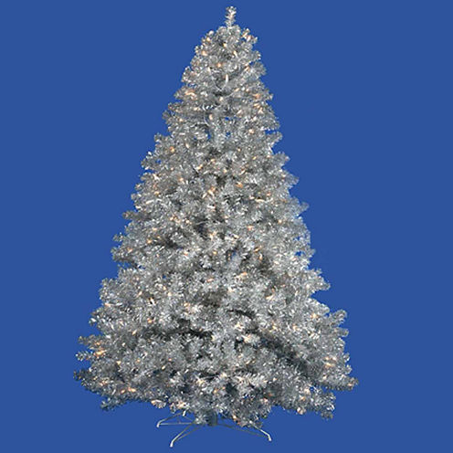 6' Pre-Lit Silver Full Artificial Sparkling TinselChristmas Tree with Clear Lights