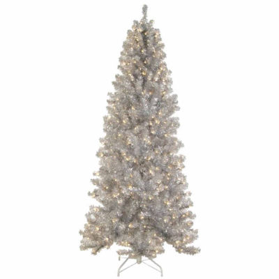 7.5' Pre-Lit Silver Tinsel Noble Pine Artificial Christmas Tree with Clear Lights