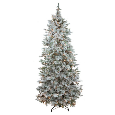 7.5' Pre-Lit Flocked Slim Colorado Spruce Artificial Christmas Tree with Clear Lights