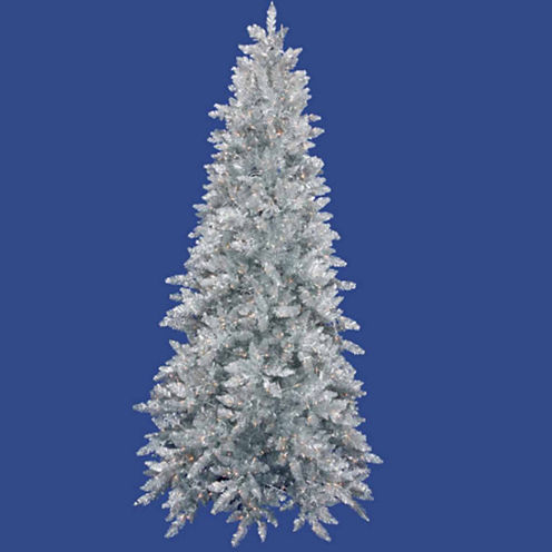 7.5' Pre-Lit Silver Ashley Spruce Artificial Tinsel Christmas Tree with Clear Lights