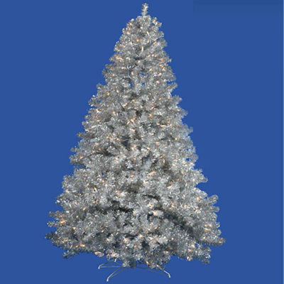 7' Pre-Lit Sparkling Silver Full Artificial TinselChristmas Tree with Clear Lights