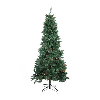 9' Pre-lit Slim Pine Artificial Christmas Tree with Multi-Color Lights