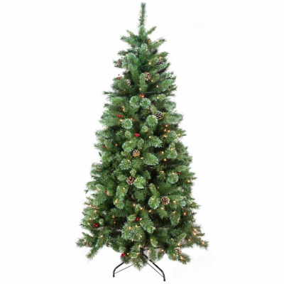 """7.5' x 48"""" Pre-Lit Multi-Color Glittered Mixed Pine Medium Artificial Christmas Tree with Clear Lights"""""""