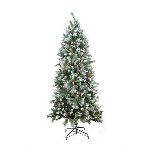 7' Pre-lit Mixed Snow Pine Artificial Christmas Tree with Clear Lights