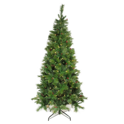 7' Pre-Lit Single Plug Slim Mount Beacon Pine Artificial Christmas Tree - Multi-Function LED Lights