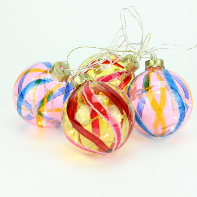 Set Of 4 Battery Operated Pink And Yellow Swirl Glass Ball LED Lighted Ornaments