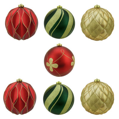 """7 Ct 6"""" Matte And Glitter Red Gold And Green Earthy Shatterproof Ball Ornaments"""""""
