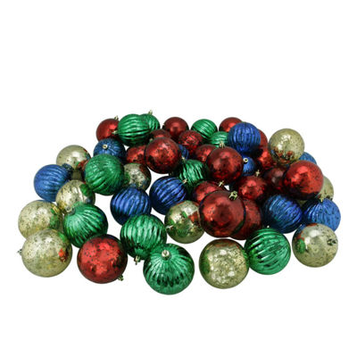 "50 Ct 3.25"" Shiny Red Blue Green And Gold Shatterproof Mercury Ball Ornaments"""