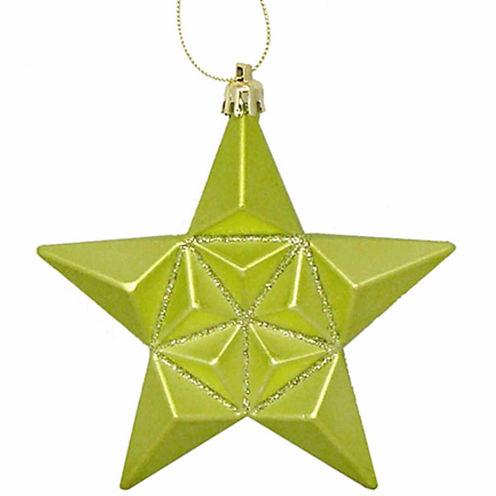 "12Ct 5"" Matte Green Kiwi Glittered Star Shatterproof Ornaments"""