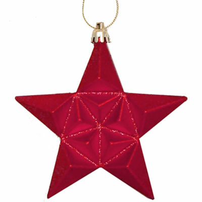 "12Ct 5"" Matte Red Hot Glittered Star ShatterproofOrnaments"""