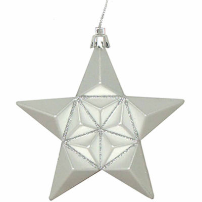 "12 Ct 5"" Matte Silver Splendor Glittered Star Shatterproof Ornaments"""
