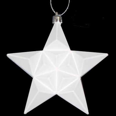 "12 Ct 5"" Matte Winter White Glittered Star Shatterproof Ornaments"""
