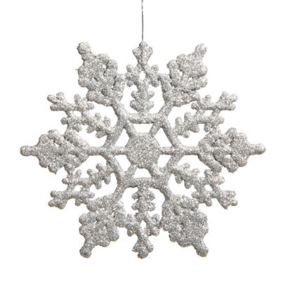 """Club Pack Of 24 3.75"""" Shimmering Silver Glitter Snowflake Ornaments"""""""