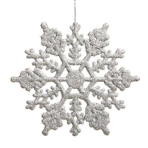 "Club Pack Of 24 3.75"" Shimmering Silver Glitter Snowflake Ornaments"""