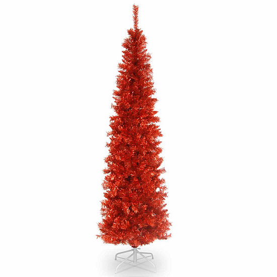 National Tree Co. 6 Foot Red Tinsel Christmas Tree