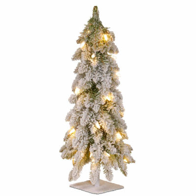 National Tree Co. 2 Foot Snowy Downswept Pre-Lit Christmas Tree