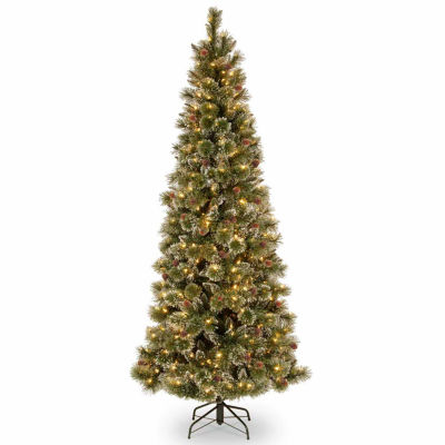 National Tree Co. 7 1/2 Foot Glittery Bristle Slim Pine Pine Pre-Lit Christmas Tree