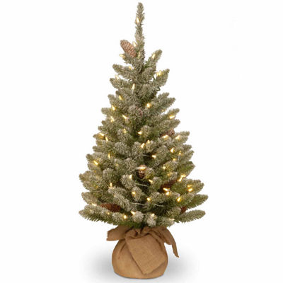National Tree Co. 3 Foot Snowy Concolor Burlap Pre-Lit Christmas Tree