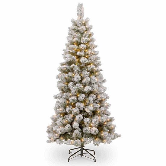 National Tree Co. 7 1/2 Foot Snowey Bristle Pine Slim Pine Pre-Lit Christmas Tree