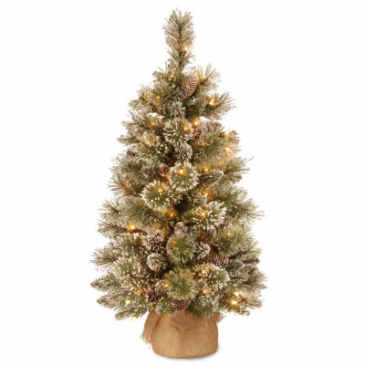 National Tree Co. 3 Foot Glittery Bristle Pine Pine Pre-Lit Christmas Tree