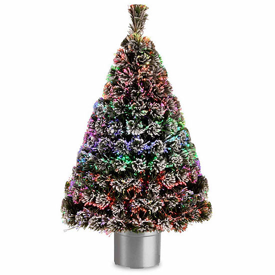 National Tree Co. 4 Foot Evergreen Flocked Pre-Lit Flocked Christmas Tree
