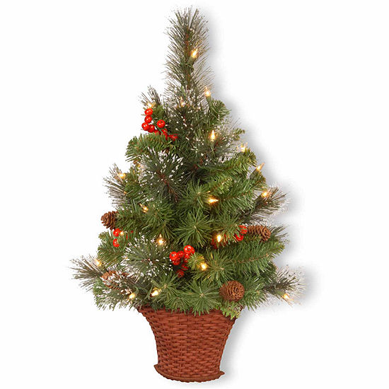 National Tree Co. 3 Foot Crestwood Spruce Half Spruce Pre-Lit Christmas Tree