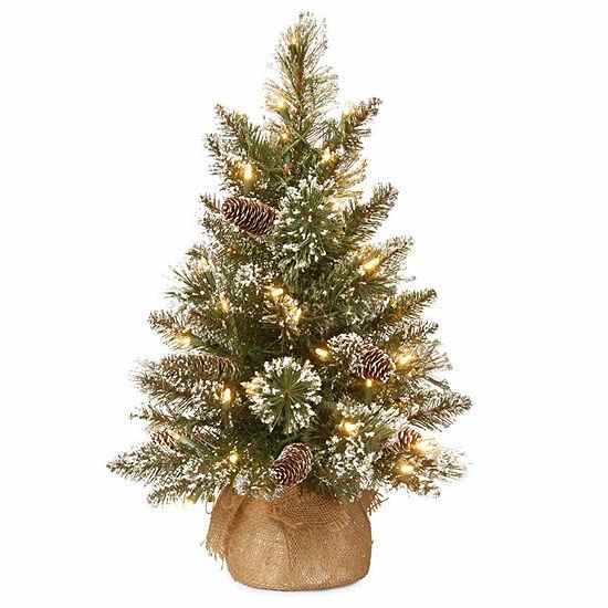 National Tree Co. 2 Foot Glittery Bristle Pine Pine Pre-Lit Christmas Tree