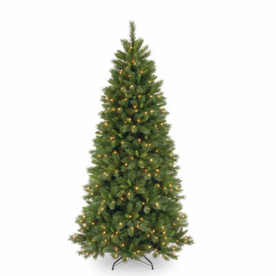 National Tree Co. 7 1/2 Foot Lehigh Valley Pine Slim Hinged Pre-Lit Christmas Tree