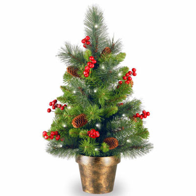 National Tree Co. 2 Foot Crestwood Spruce Pre-Lit Christmas Tree