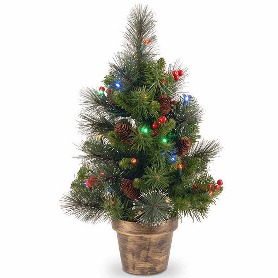 National Tree Co. 2 Foot Crestwood Spruce Small Potted Spruce Pre-Lit Christmas Tree