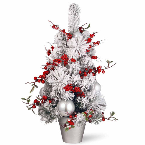 National Tree Co. 2 Foot Red & White Ornaments Christmas Tree