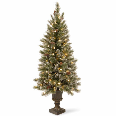 National Tree Co. 4 Foot Glittery Bristle Pine Entrance Pine Pre-Lit Christmas Tree
