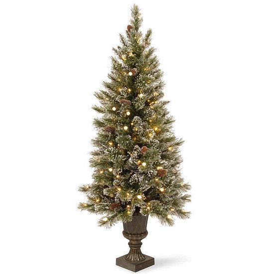 National Tree Co. 4 Foot Glittery Bristle Pine Entrance Pine Pre-Lit Christmas Tree