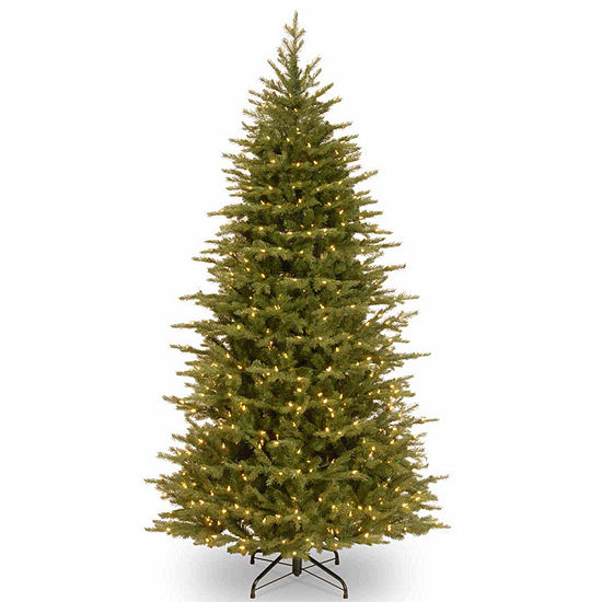 National Tree Co 7 1 2 Foot Nordice Spruce Slim Spruce Pre Lit Christmas Tree
