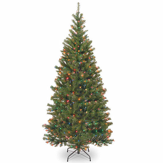 National Tree Co. 7 Foot Aspen Spruce Hinged Spruce Pre-Lit Christmas Tree