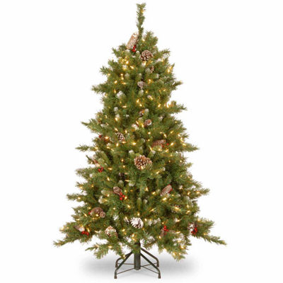 National Tree Co. 5 Foot Frosted Berry Memory-Shape Hinged Pre-Lit Christmas Tree