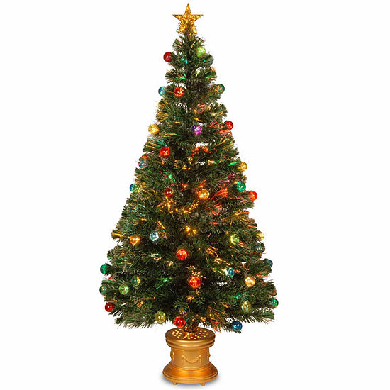 National Tree Co. 5 Foot Fiber Optic Evergreen Pre-Lit Christmas ...
