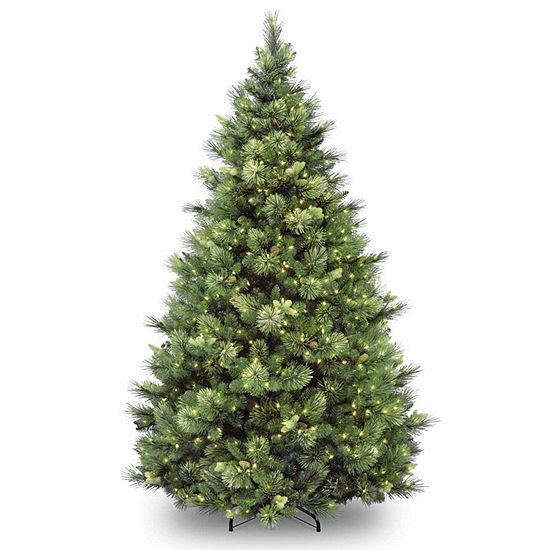 National Tree Co 7 1 2 Foot Carolina Pine Hinged Pine Pre Lit Christmas Tree