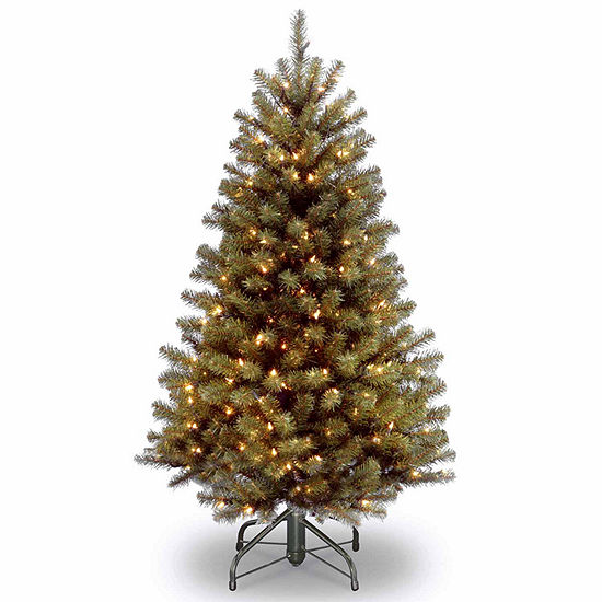 National Tree Co. 4 1/2 Foot North Valley Spruce Hinged Spruce Pre-Lit Christmas Tree