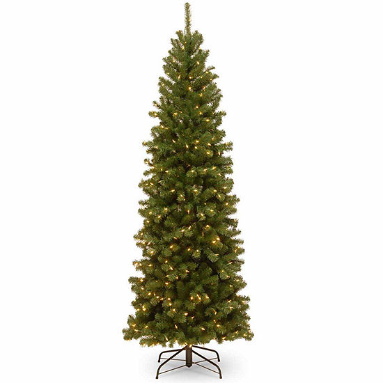 National Tree Co 7 1 2 Foot North Valley Spruce Pencil Slim Hinged Spruce Pre Lit Christmas Tree