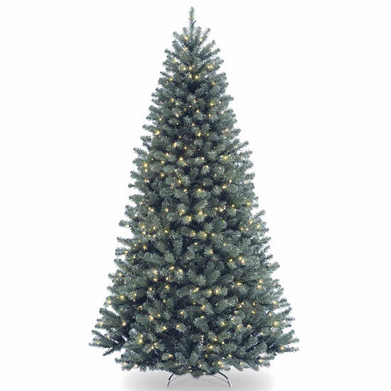 National Tree Co. 7 1/2 Foot North Valley Spruce Blue Hinged Spruce Pre-Lit Christmas Tree