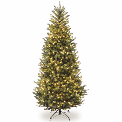 National Tree Co. 7 1/2 Foot Natural Fraser Slim Fir Hinged Fir Pre-Lit Christmas Tree