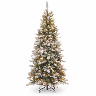National Tree Co. 7 1/2 Foot Snowy Mountain Pine Slim Pre-Lit Christmas Tree