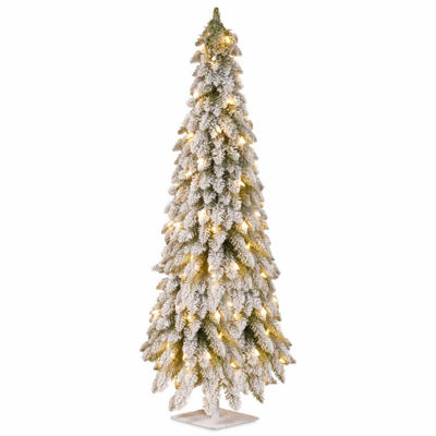 National Tree Co. 5 Foot Snowy Downswept Pre-Lit Christmas Tree