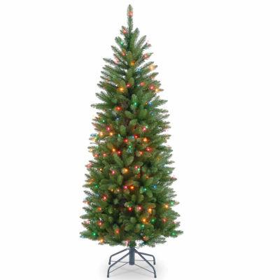 National Tree Co. 4 1/2 Foot Kingswood Fir Hinged Pencil Fir Pre-Lit Christmas Tree