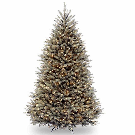 National Tree Co. 7 1/2 Foot Dunhill Blue Fir Hinged Fir Pre-Lit Christmas Tree