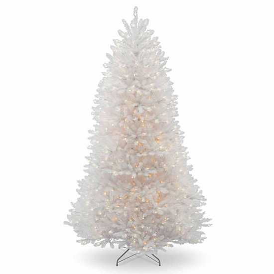National Tree Co. 7 1/2 Foot Dunhill Fir White Hinged Fir Pre-Lit Christmas Tree