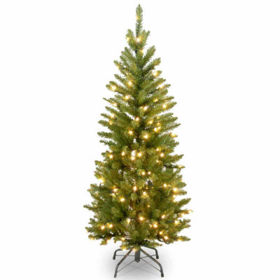 National Tree Co. 4 1/2 Foot Kingswood Fir Hinged Pencil Pre-Lit Christmas Tree