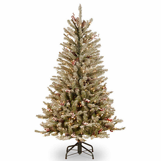 National Tree Co. 4 1/2 Foot Dunhill Fir Slim Hinged Fir Pre-Lit Christmas Tree