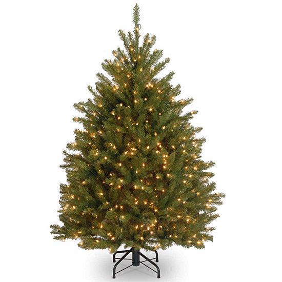 National Tree Co. 4 1/2 Foot Dunhill Fir Hinged Fir Pre-Lit Christmas Tree